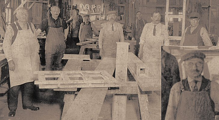 Conrad Gemmer in a wood shop in Buffalo NY - early 1900's