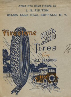 image: J. N. Fulton stationary art for Buffalo Auto Business