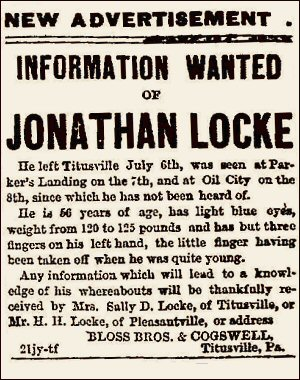 Ad taken out by Sarah (Sally) Locke looking for Jonthan Locke after his dissappearance in July 1870.