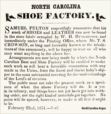 Samuel Fulton - North Carolina Shoe Factory Ad 22 Feb 1851