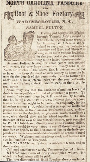 image: Samuel Fulton Tannery Purchase Ad in NC Argus 15 Mar 1851