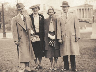 Robert, Clara, Lillian, Lionell Dodd in Delaware Park, Easter 18 May 1938